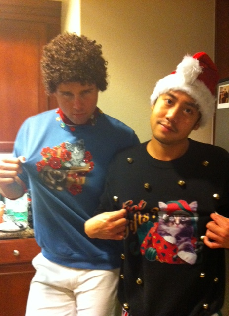 Allen Evangelista and Aaron Hill Rock Ugly Christmas Sweaters