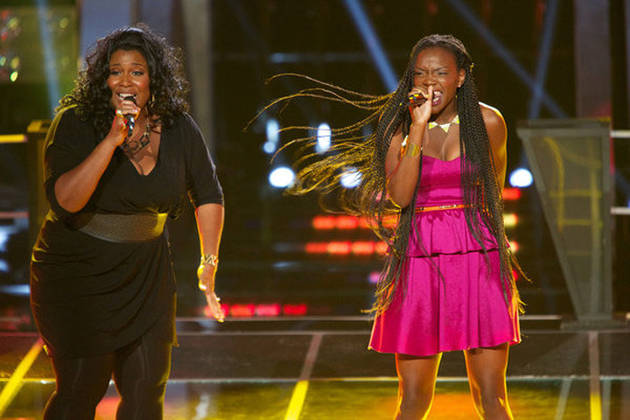 "Watch Adanna Duru and Michelle Brooks-Thompson Sing Beyoncé's ""Crazy in Love"" on The Voice Battle Rounds, Oct. 16, 2012 (VIDEO)"