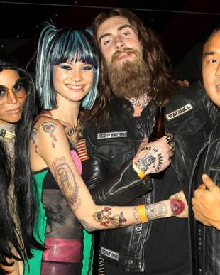 Adam Levine Dons Leather Jacket and Massive Beard for Halloween With Girlfriend, Behati Prinsloo! (PHOTO)
