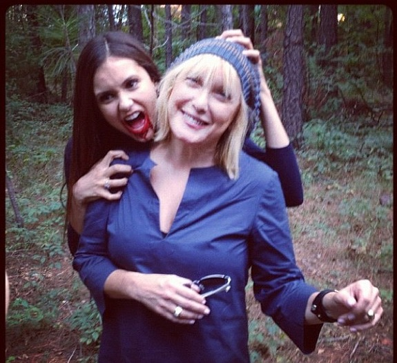 Vampire Diaries' Behind the Scenes Photo: Nina Dobrev's Got a Bloody Mouth
