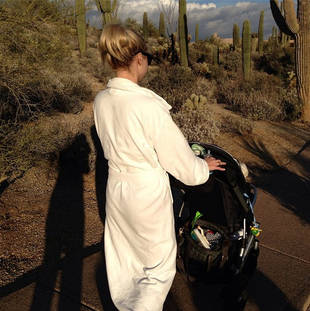 Glee Star's Christmas in the Desert — Why's She Pushing a Baby Carriage?