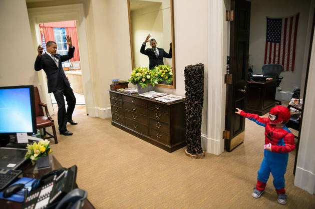 President Obama Blasted in Spider-Man's Web! Adorable Photo Goes Viral