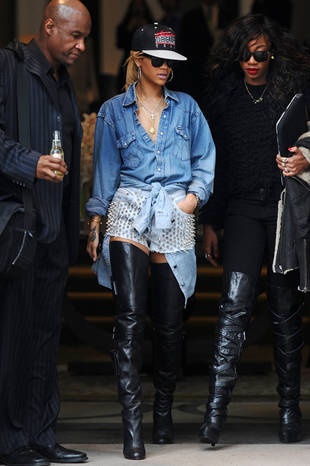 Um, What's With Rihanna's Studded-Denim and Leather Look? (PHOTO)
