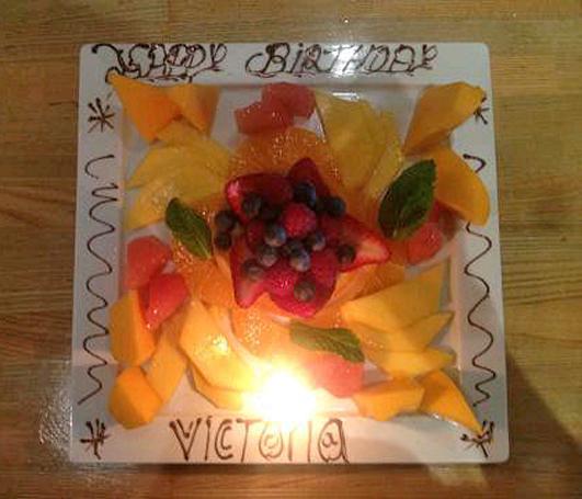 Victoria Beckham's Birthday Indulgence: Sliced Fruit