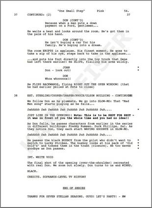 "The ""Leaked"" Final Page of the Mad Men Series Finale Script: Don Draper [SPOILER] (JK!)"