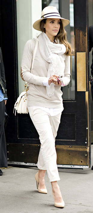 Celebrity Spring Style: Jessica Alba Does Head-to-Toe Beige — and It Works!