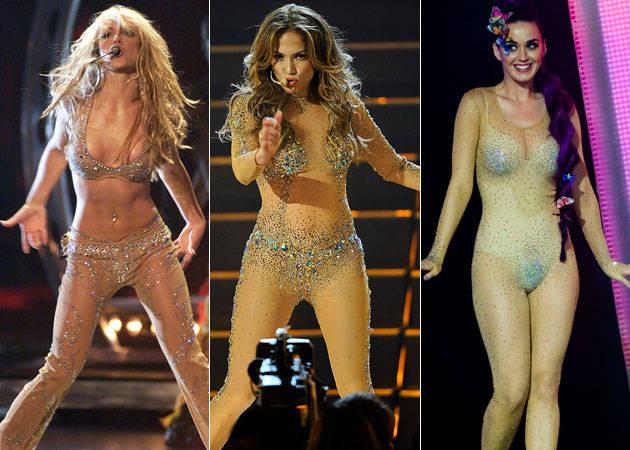 Who Wore the Nude Bodysuit Best? Britney Spears vs. Jennifer Lopez vs. Katy Perry