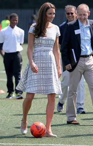 Olympics 2012: Kate Middleton Plays Soccer — in a Dress! (PHOTO)