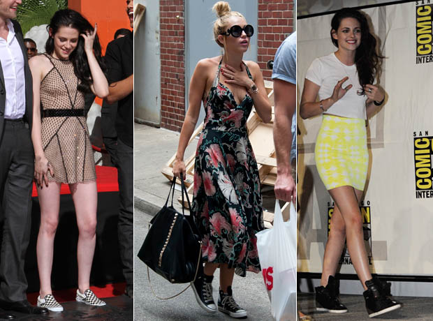 Who Pairs Sneakers and Dresses Best: Miley Cyrus vs. Kristen Stewart? (PHOTOS)