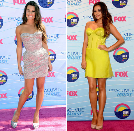 Lea Michele vs. Shay Mitchell at the Teen Choice Awards 2012: Whose Sexy Bustier Dress is Best?
