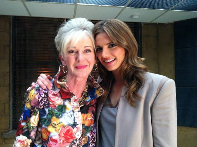 Castle Season 5: Behind the Scenes With Stana Katic and Guest Star Caroline Lagerfelt (PHOTO)