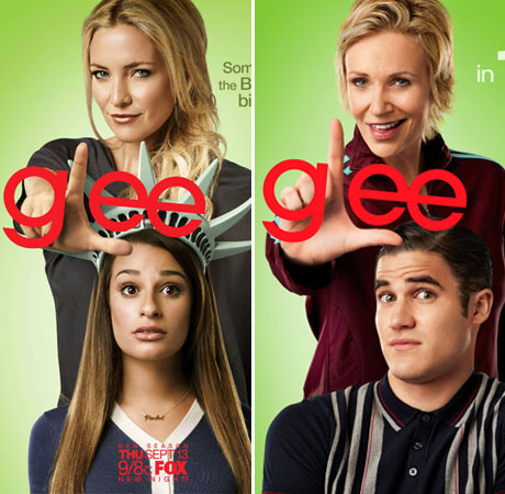 Lea Michele and Kate Hudson vs. Darren Criss and Jane Lynch! Which Glee Season 4 Poster is Best?