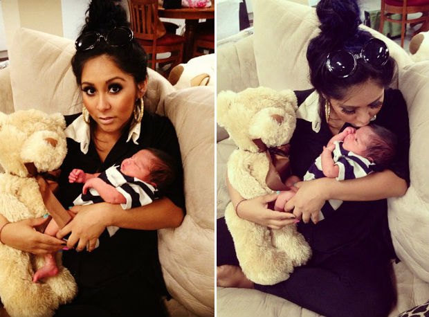 Snooki Cuddles With Baby Lorenzo and a Huge Teddy Bear (PHOTOS)