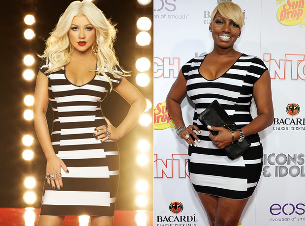Christina Aguilera vs. NeNe Leakes: Who Wore the Striped Herve Leger Dress Better? (PHOTOS)