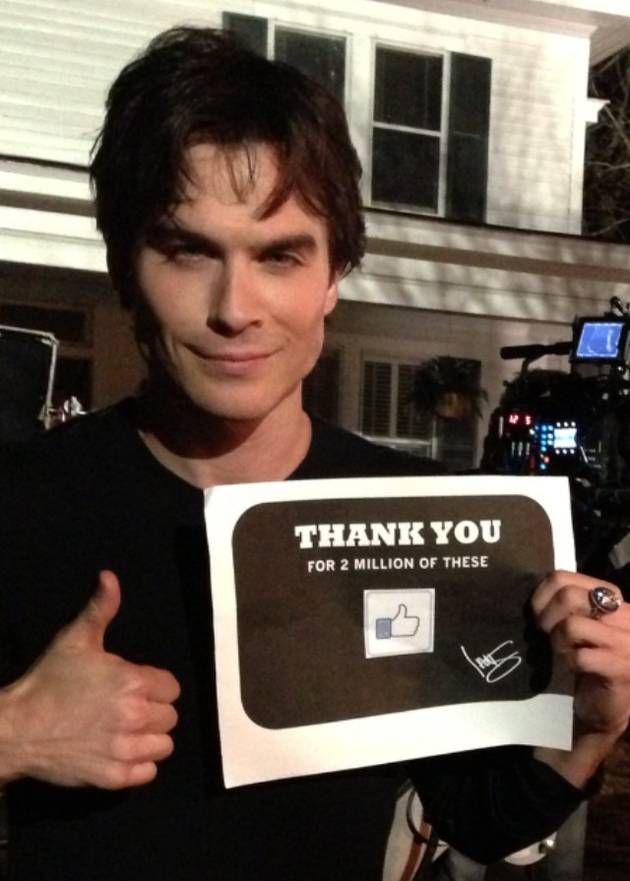Vampire Diaries' Ian Somerhalder Thanks His 2 Million Facebook Fans With a Hot Pic