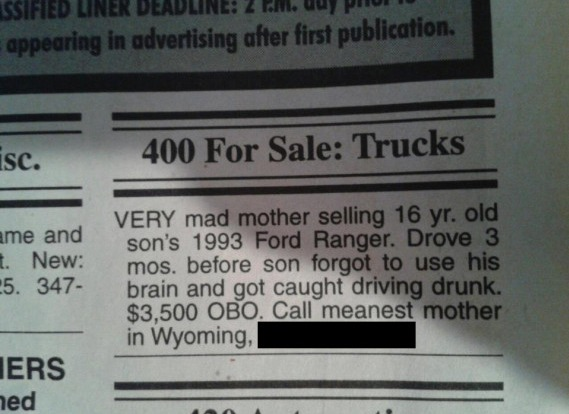 Mom Posts Ad Selling Her Son's Truck After Drunk Driving Incident