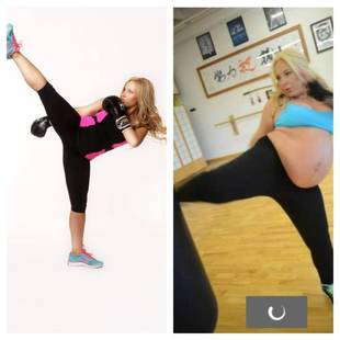 Hollywood Gym Owner Does Intensive Kickboxing While Eight Months Pregnant!