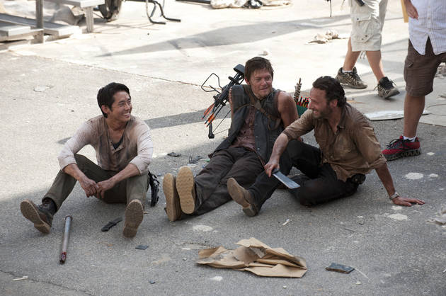 Steven Yeun, Andrew Lincoln, and Norman Reedus Goof Around on The Walking Dead Set (PHOTO)