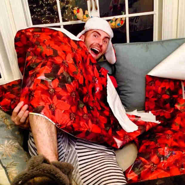 Adam Levine Gets Wrapped Up in Cute Christmas Pics — Goofball Alert! (PHOTO)