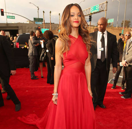 Rihanna at the 2013 Grammy Awards: Stunning in Red, the Singer Doesn't Exactly Follow the Rules