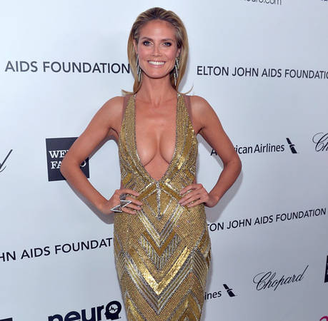 Heidi Klum's Cleavage-Baring Dress at Elton John's 2013 Oscars Party: Hot or Not?