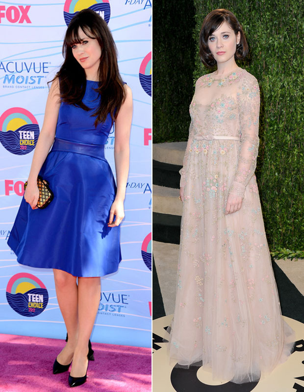 Did Zooey Deschanel Cut Her Hair Before the 2013 Vanity Fair Oscars Party?