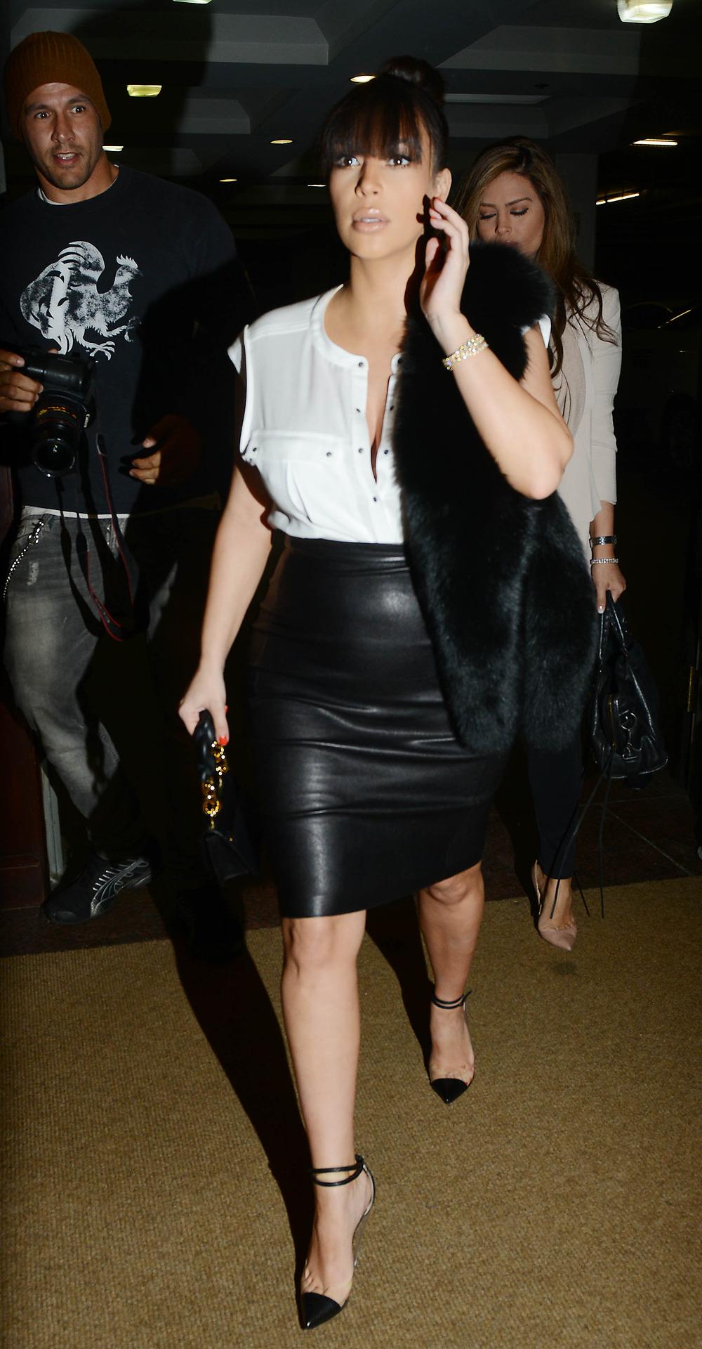 Pregnant Kim Kardashian Wears Tight Leather Skirt to OB-GYN (PHOTOS)