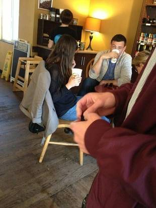 Cory Monteith and Lea Michele Eat Fish and Chips With His Mom! (PHOTO)