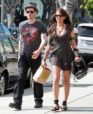 Vampire Diaries Couple Joseph Morgan and Persia White Shop With Their Dog