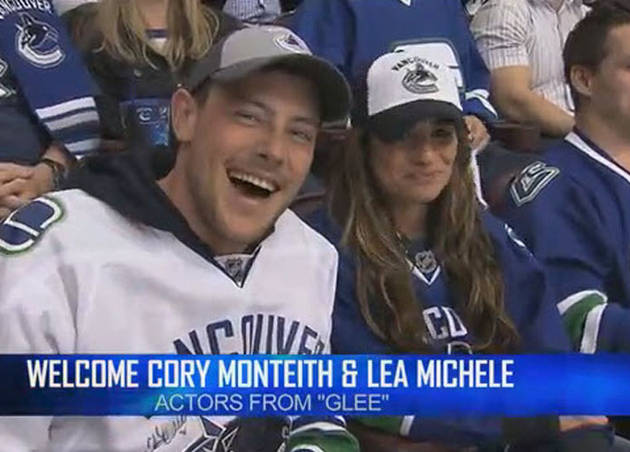 Cory Monteith and Lea Michele: Adorable Canucks Hockey Couple (VIDEO)