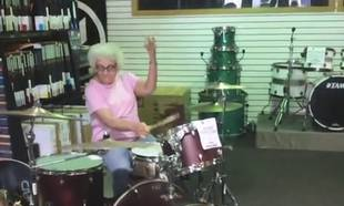 Rockin' Granny Shocks Drum Shop Employees With Her Mad Skills (VIDEO)