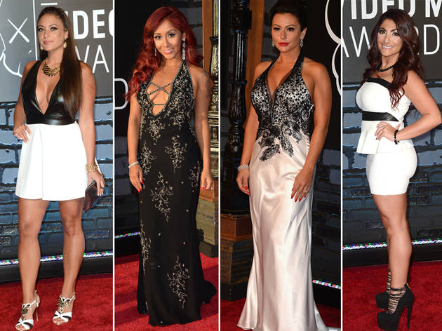 Jersey Shore Girls Go Black and White at the 2013 Video Music Awards: Who Wore It Best? (PHOTO)