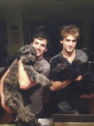 Pretty Little Liars' Ian Harding and Keegan Allen Cuddle With Puppies! (PHOTO)