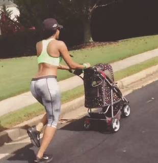 Porsha Stewart Works Out By Pushing Her Dog in a Stroller (VIDEO)