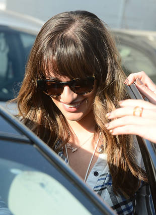 Lea Michele Spotted Wearing Cory Monteith Necklace During Emmys Prep