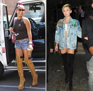 Dancing With the Stars Contestant Christina Milian vs. Miley Cyrus: Thigh-High Face-Off! (PHOTO)
