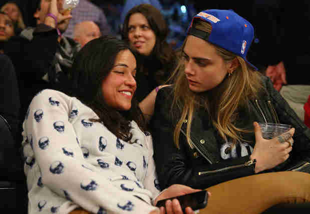 Cara Delevingne and Michelle Rodriguez Make Out and Get Rowdy at Knicks Game (PHOTO)