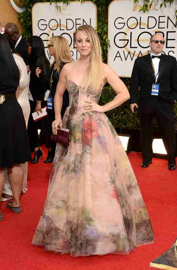 Kaley Cuoco Dishes on Upside Down Wedding Cake at 2014 Golden Globes (PHOTO)