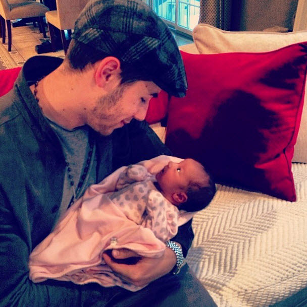 First Photo of Nick Jonas With Baby Alena Rose — Her Eyes Are Open!