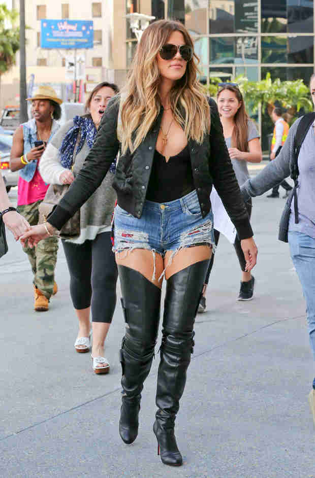 Khloe Kardashian in Denim Hot Pants and Thigh-High Boots — Hot or Not?