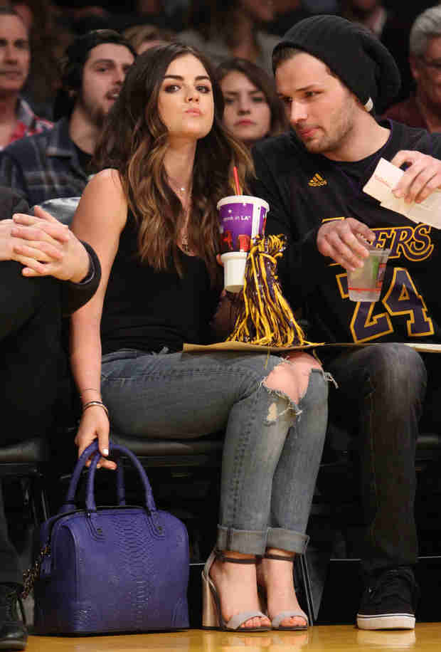 Lucy Hale Spotted at Lakers Game With Country Star Joel Crouse