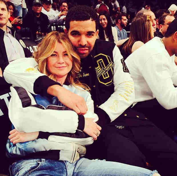 Grey's Anatomy's Ellen Pompeo Cuddles With Drake at NBA Playoffs (PHOTO)