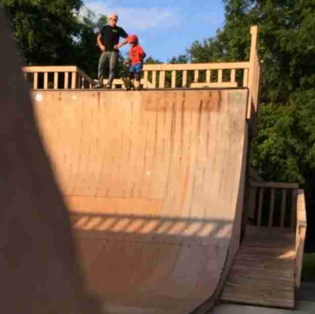 Dad Caught on Video Pushing His Six-Year-Old Son Down a 13-Foot Drop Skateboard Ramp