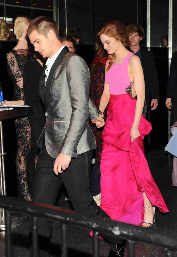 Emma Stone and Andrew Garfield Show Rare PDA After the 2014 MET Ball