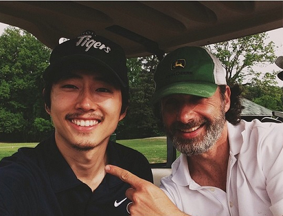"""The Walking Dead Season 5: Steven Yeun, Andrew Lincoln Are """"Back"""" on Set — and Golf Course (PHOTOS)"""