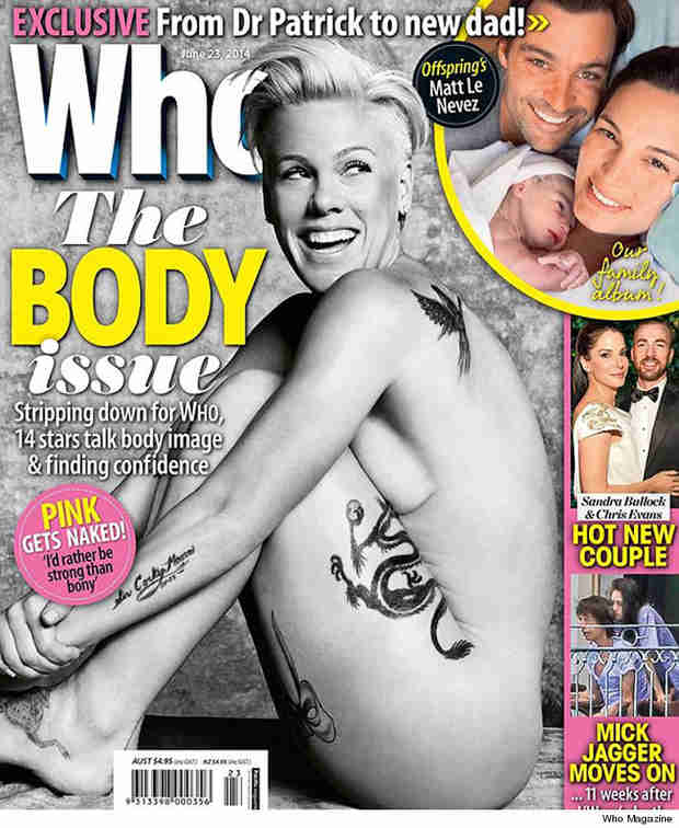 "Pink Goes Nude on Who Magazine Cover: ""I'd Rather Be Strong Than Bony"" (PHOTO)"