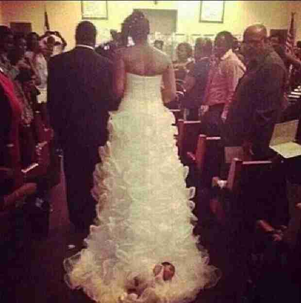 Bride Defends Choice to Attach Newborn onto Her Wedding Gown Train