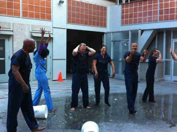 Grey's Anatomy Cast Takes on the ALS Ice Bucket Challenge on Set! (VIDEO)