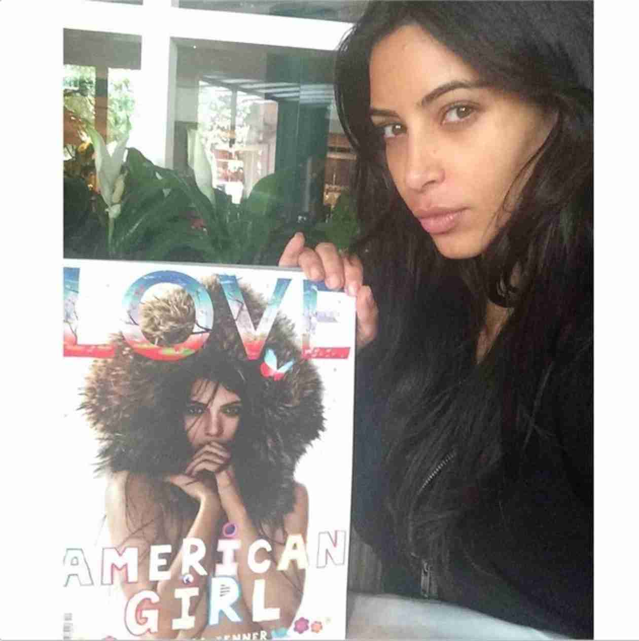 Kim Kardashian Posts Makeup-Free Selfie With Sister Kendall's LOVE Cover (VIDEO)