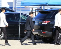EXCLUSIVE: Matthew Morrison, Lea Michele, Jenna Ushkowitz, Harry Shum, Darren Criss, Chord Overstreet and Mark Salling and almost the whole cast of 'Glee' seen arriving to there trailers for lunch after shooting a wedding scene in Los Angeles